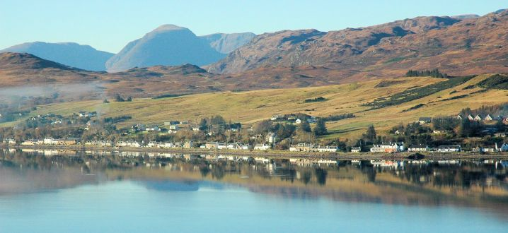 A spectacular view of Lochcarron village as seen from the viewpoint on the south side of Loch Carron near Attadale.